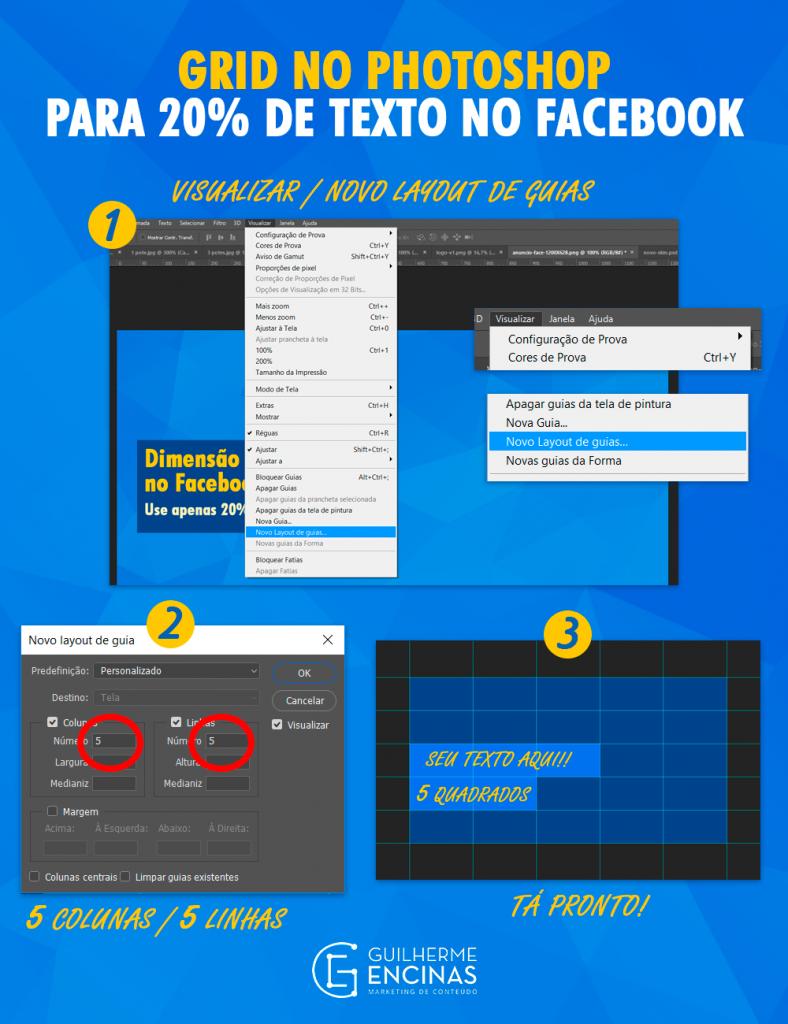 Como calcular 20% de texto do Facebook pelo Photoshop